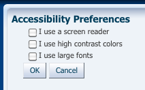 Screen shot of the accessibility preferences page