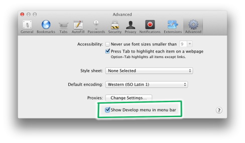 Enable Safari Develop menu
